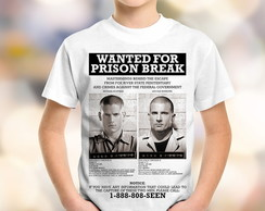 Camiseta Infantil Prison Break Wanted