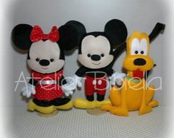 MICKEY, MINNIE E PLUTO DE FELTRO 20CM KIT COM 3