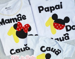 kit Camisetas papai e mamãe Mickey famil