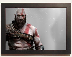 Pôster Com Moldura God Of War 4 Kratos