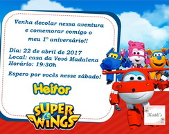Convite SUPER WINGS + envelope + lacre