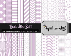 Kit Papel Digital Basic Lilas Bebê