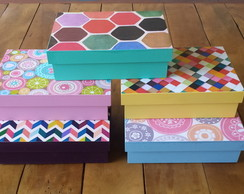 Kit 5 caixas collors de MDF