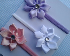 kit 3 headbands com flor cetin