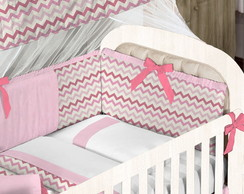 Kit Berço Mini Chevron Pink e Rosa