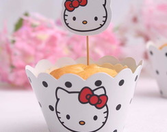 Saia de Cupcake + Topper Hello Kitty