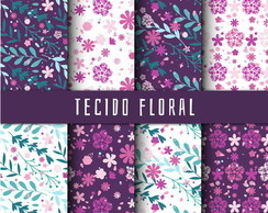 Kit Scrapbook Digital / Tecido Floral