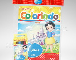 Kit Colorir Branca De Neve Cute + Brinde