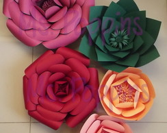 Kit 5 Flores Papel Gigante