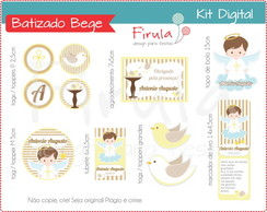 Kit Festa Digital Batizado Bege