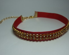 Coleira de Strass Red & Gold
