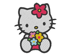 Matriz de bordado - Hello Kitty Flores