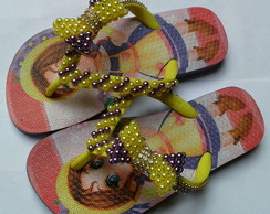 chinelo infantil customizado com lac