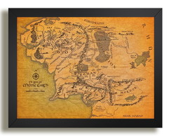 Quadro Mapa Terra Media 45x35cm Hobbit