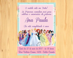 Convite Princesas Disney - Arte Digital