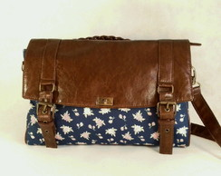 Bolsa Carteiro Chocolate Floral Blue