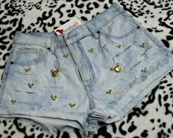 Short Jeans Destroyed Minnie e Mickey Modelo 6