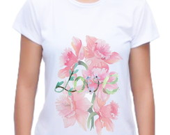 Camiseta Baby Look Love Floral 01