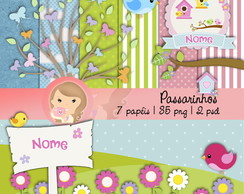 Kit papel Digital Scrapbook Passarinhos
