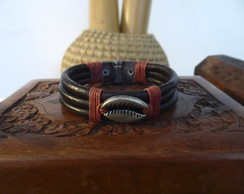 PULSEIRA BROWN LEATHER BEADS