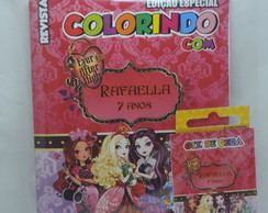 Kit Colorir Revistinha + Giz Cera