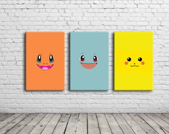 Kit 3 Quadros Pokemon 30x40cm