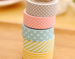 5 Fitas Adesivas Washi Tape 15mm x 5m