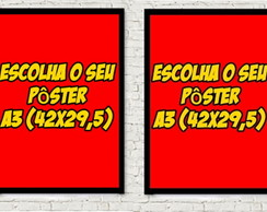 Kit 2 quadros poster A3 retro/vintage