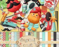 Kit Scrapbook Digital - Barbearia