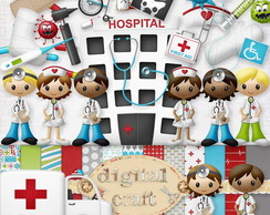 Kit Scrapbook Digital - No hospital