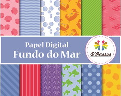 Kit 12 Papel Digital- Fundo do Mar