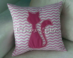 Almofada 42x42 Cat Lovers Chevron Rosa