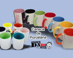 4 Canecas Porcelana Color Interna