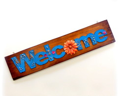 Placa madeira reciclada - Welcome
