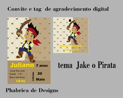 Convite e tag digital Jake o Pirata
