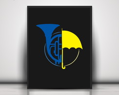 Poster Blue French Horn Yellow Umbrella