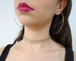 Mix de choker e Argola - gold