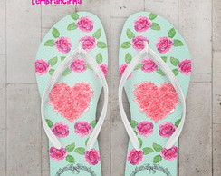 Chinelo 15 anos Floral Rosa