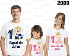 camiseta ursinha princesa kit com 3