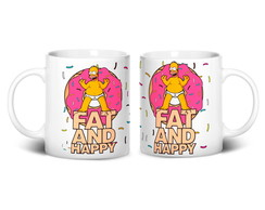 Caneca Fat and Happy | Homer