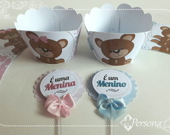 Kit Wrapper + Topper Cupcake Ursinho