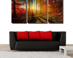 Quadro Decorativo Floresta Laranjada 3 P