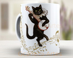 Caneca Music Cat - Gato vintage 1059