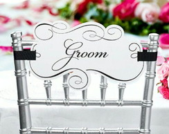 Placas para cadeiras Bride e Groom