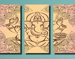 Quadro Decorativo India Deus Ganesh 3 Pe