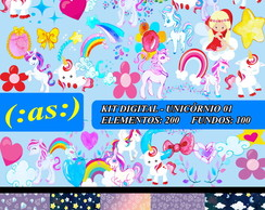 7 Kits Digital Scrapbook Unicornio 01