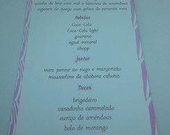 Menu festa safari rosa