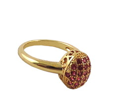 Anel com Mini Strass Rosa