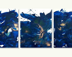 Quadros Abstratos Sala Trio 40x50 Azure