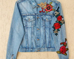 Jaqueta Jeans Customizada - Flower Power